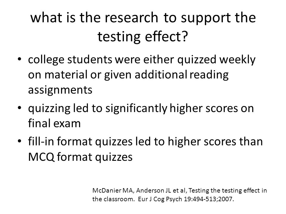 what is the research to support the testing effect.