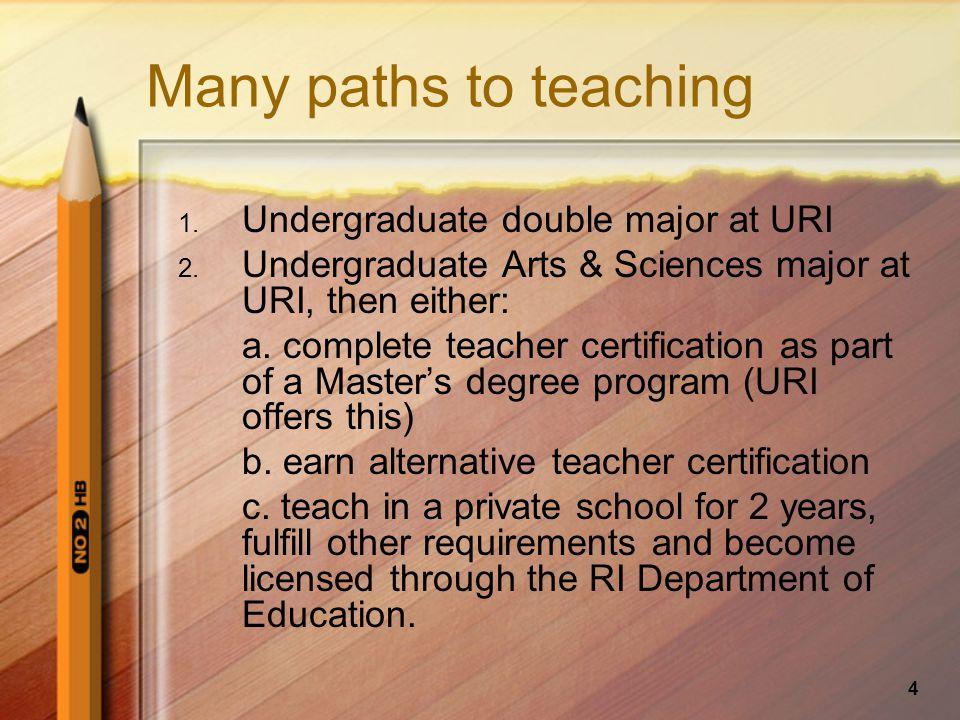 4 Many paths to teaching 1.Undergraduate double major at URI 2.