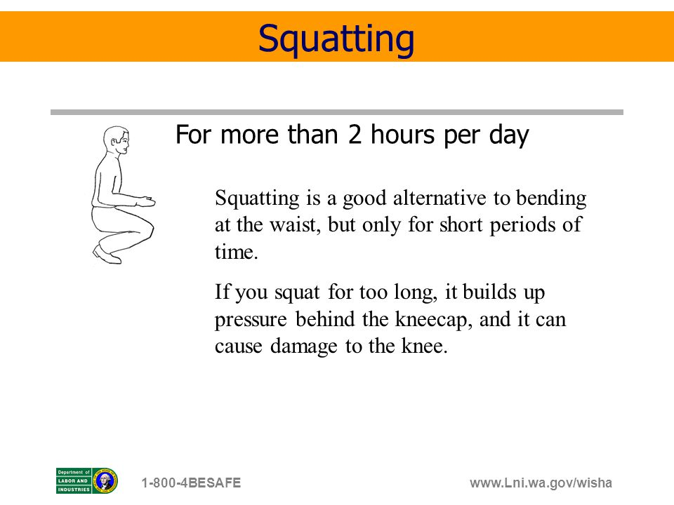www.Lni.wa.gov/wisha1-800-4BESAFE For more than 2 hours per day Squatting Squatting is a good alternative to bending at the waist, but only for short