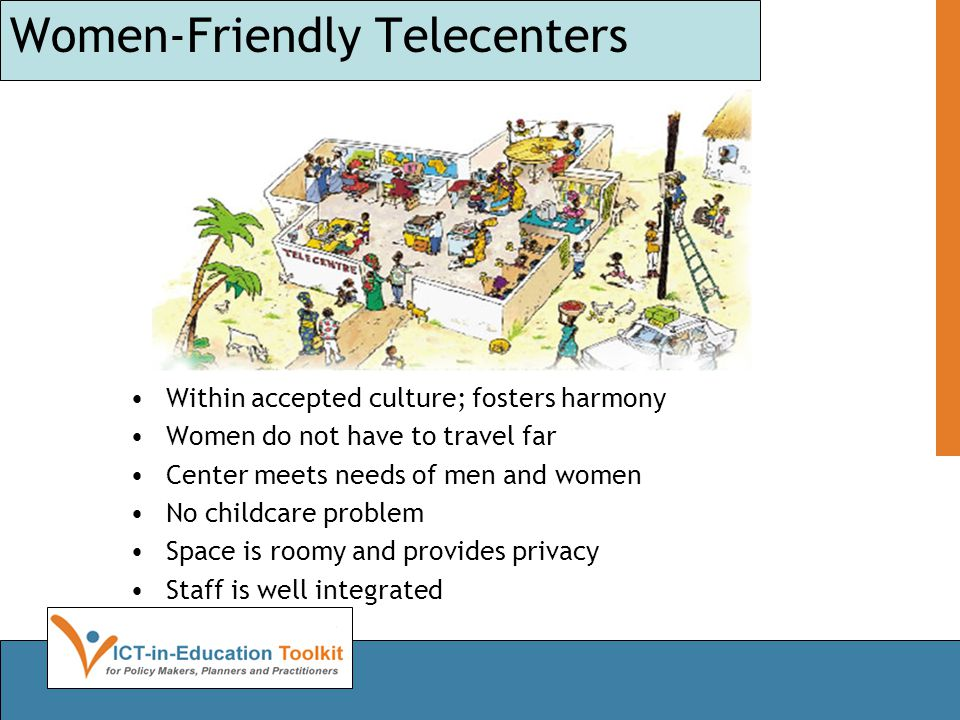 Women-Friendly Telecenters Within accepted culture; fosters harmony Women do not have to travel far Center meets needs of men and women No childcare p