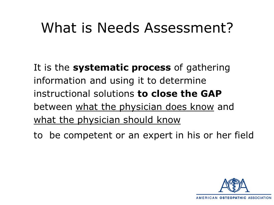 Needs Assessment Model Actual What physicians know & do Gap Optimal What physicians should know & do