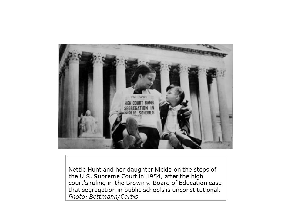 Nettie Hunt and her daughter Nickie on the steps of the U.S. Supreme Court in 1954, after the high court's ruling in the Brown v. Board of Education c