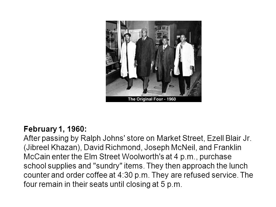 February 1, 1960: After passing by Ralph Johns' store on Market Street, Ezell Blair Jr. (Jibreel Khazan), David Richmond, Joseph McNeil, and Franklin