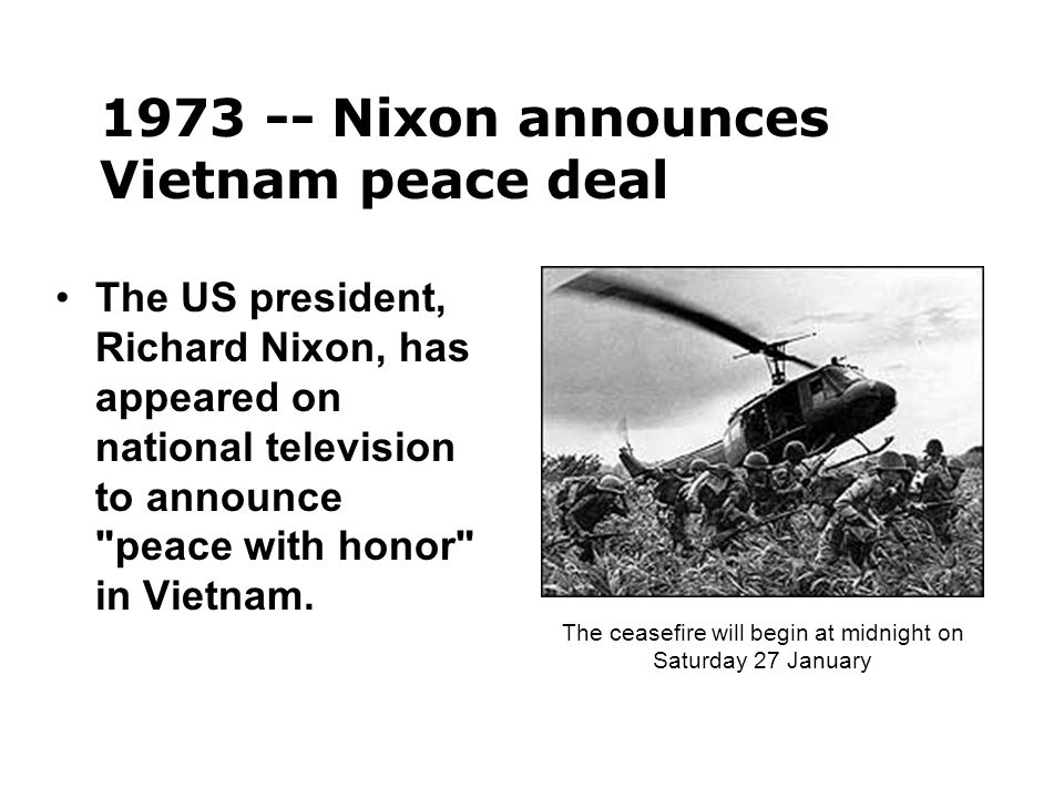 The US president, Richard Nixon, has appeared on national television to announce