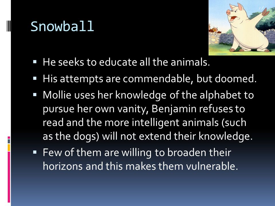 Snowball He seeks to educate all the animals. His attempts are commendable, but doomed. Mollie uses her knowledge of the alphabet to pursue her own va