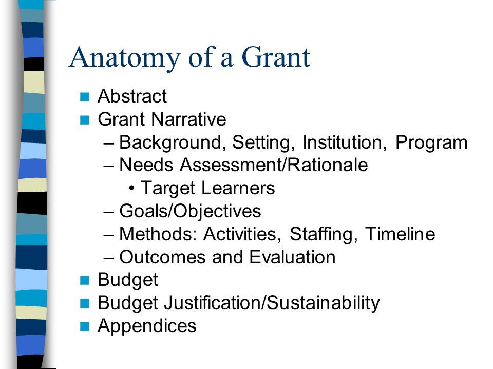 Anatomy of a Grant Abstract Grant Narrative –Background, Setting, Institution, Program –Needs Assessment/Rationale Target Learners –Goals/Objectives –Methods: Activities, Staffing, Timeline –Outcomes and Evaluation Budget Budget Justification/Sustainability Appendices