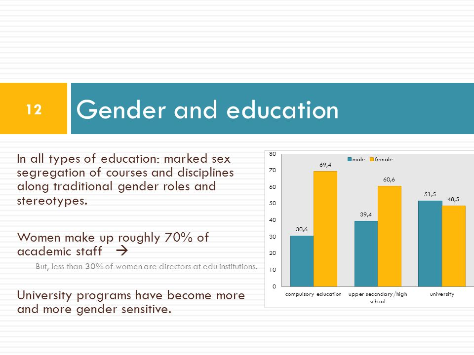 In all types of education: marked sex segregation of courses and disciplines along traditional gender roles and stereotypes. Women make up roughly 70%
