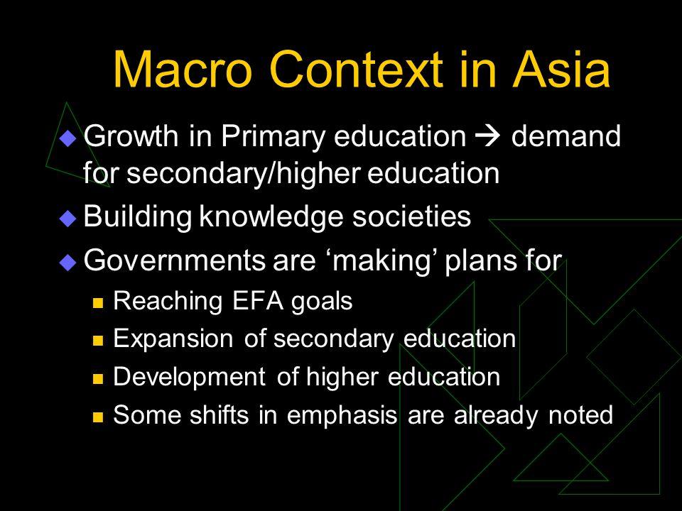 Changing Priorities: Allocation to Primary Education Base Year% Latest Year% Lao200055.5200745.9 Malaysia199034.3200729.0 Korea199044.3200735.1 Philippines200060.4200753.6 Thailand199056.0200133.6 Bhutan200056.9200726.9 Bangladesh199045.6200743.4 India 199038.9 200735.8 Nepal 199048.2 200762.9