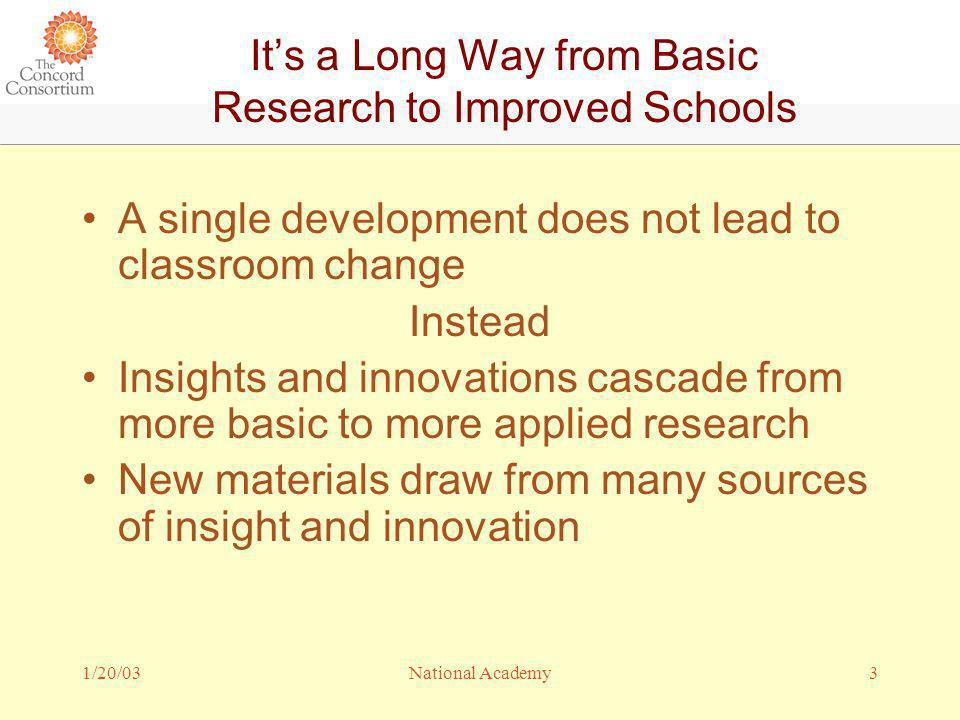 1/20/034National Academy The Research Spectrum AppliedBasic Implementation Research Cognitive Research Tools and Platforms New Technologies IT-based Curricula Human Resource Development Educational Applications This all takes place in Pasteurs Quadrant (Don Stokes) Technical Innovations Curriculum Innovations
