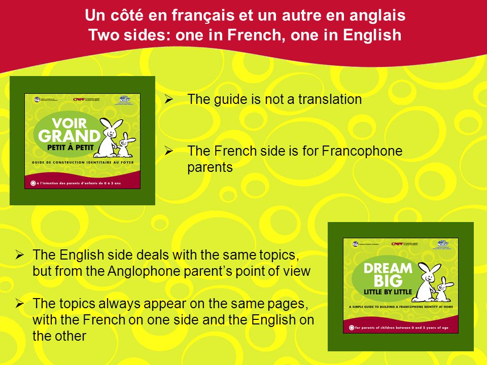 The guide is not a translation The French side is for Francophone parents Un côté en français et un autre en anglais Two sides: one in French, one in English The English side deals with the same topics, but from the Anglophone parents point of view The topics always appear on the same pages, with the French on one side and the English on the other