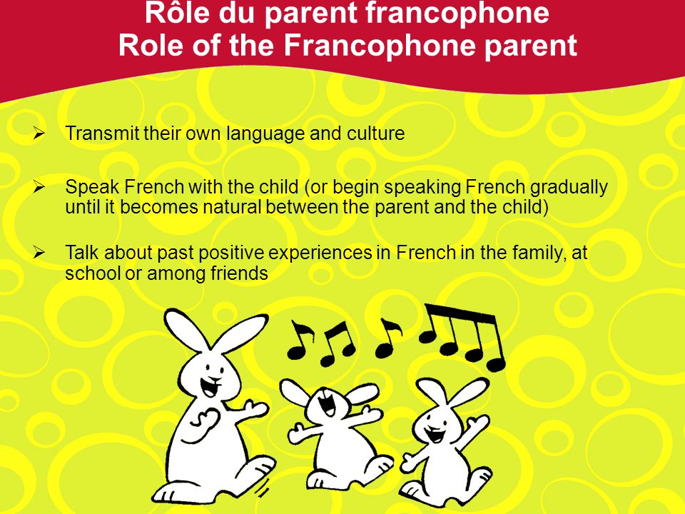 Transmit their own language and culture Speak French with the child (or begin speaking French gradually until it becomes natural between the parent and the child) Talk about past positive experiences in French in the family, at school or among friends Rôle du parent francophone Role of the Francophone parent