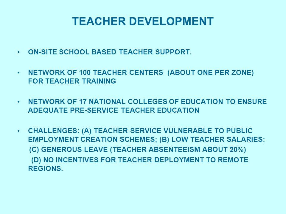 TEACHER DEVELOPMENT ON-SITE SCHOOL BASED TEACHER SUPPORT. NETWORK OF 100 TEACHER CENTERS (ABOUT ONE PER ZONE) FOR TEACHER TRAINING NETWORK OF 17 NATIO