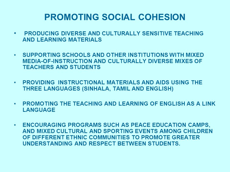 PROMOTING SOCIAL COHESION PRODUCING DIVERSE AND CULTURALLY SENSITIVE TEACHING AND LEARNING MATERIALS SUPPORTING SCHOOLS AND OTHER INSTITUTIONS WITH MI