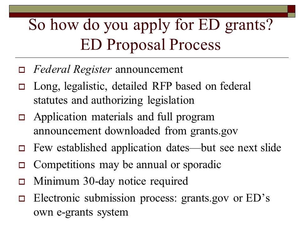 So how do you apply for ED grants.