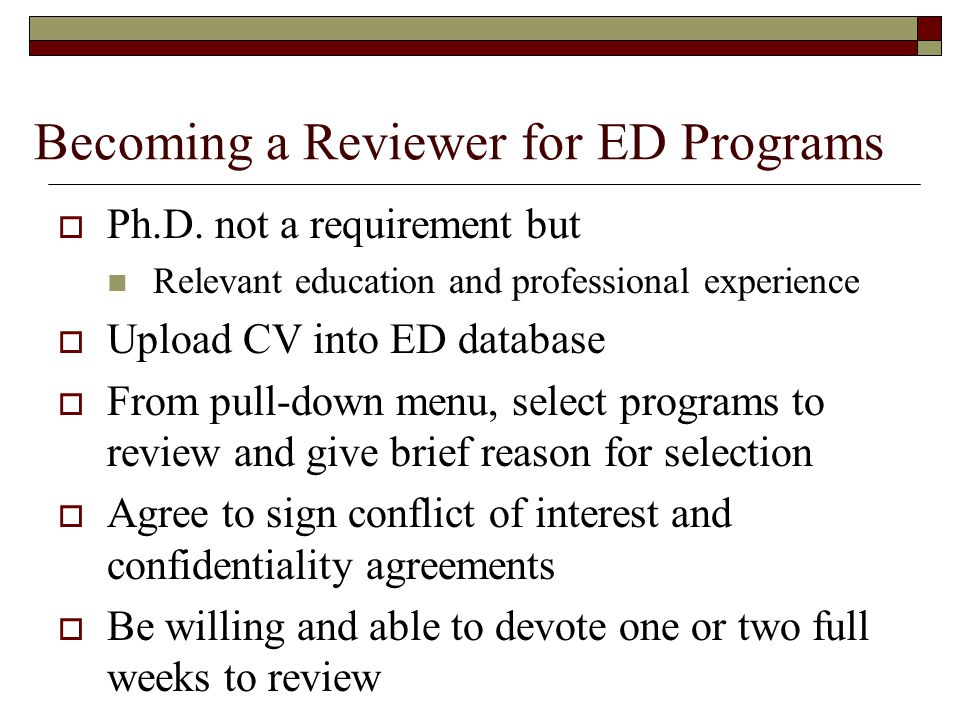 Becoming a Reviewer for ED Programs Ph.D.