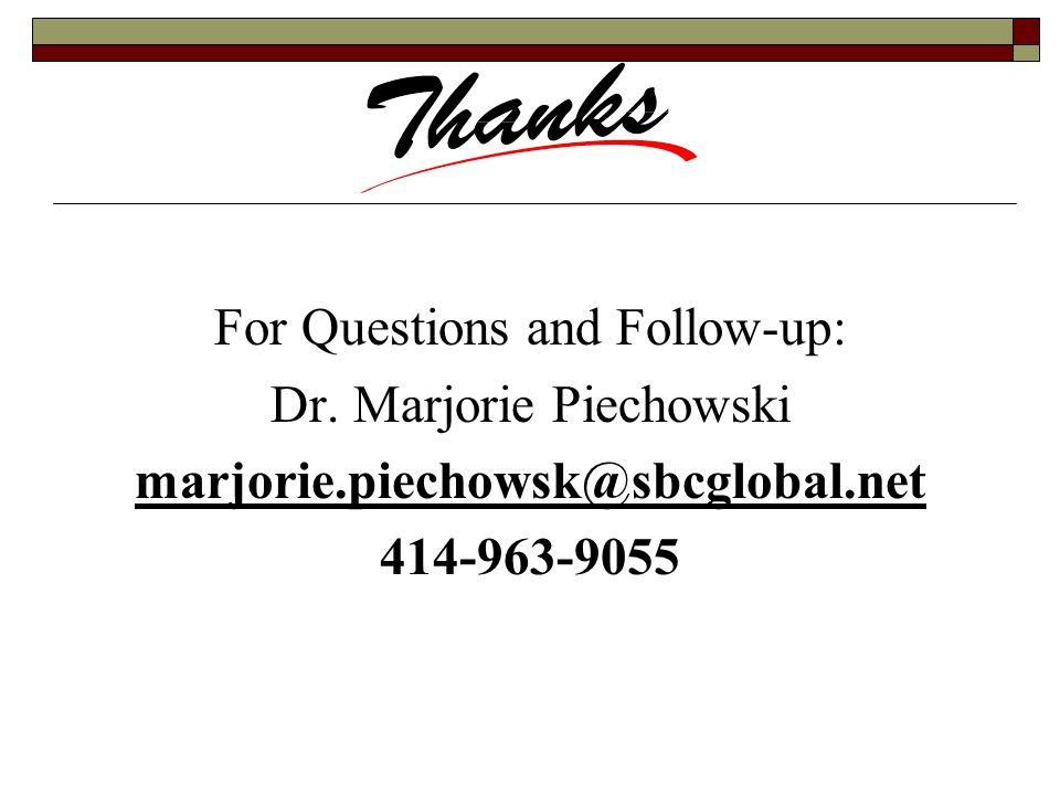 For Questions and Follow-up: Dr. Marjorie Piechowski marjorie.piechowsk@sbcglobal.net 414-963-9055