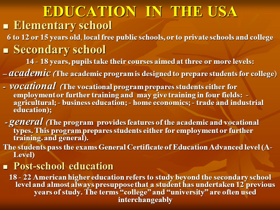 EDUCATION IN RUSSIA There are many types of school (local free school, private school,college, lyceums, gymnasia) Primary school Primary school 6-7 – 10 years.