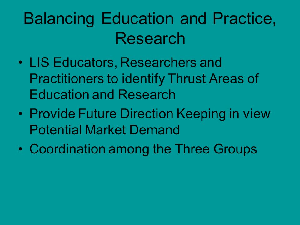 Balancing Education and Practice, Research LIS Educators, Researchers and Practitioners to identify Thrust Areas of Education and Research Provide Future Direction Keeping in view Potential Market Demand Coordination among the Three Groups