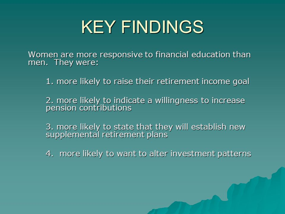 KEY FINDINGS Women are more responsive to financial education than men.