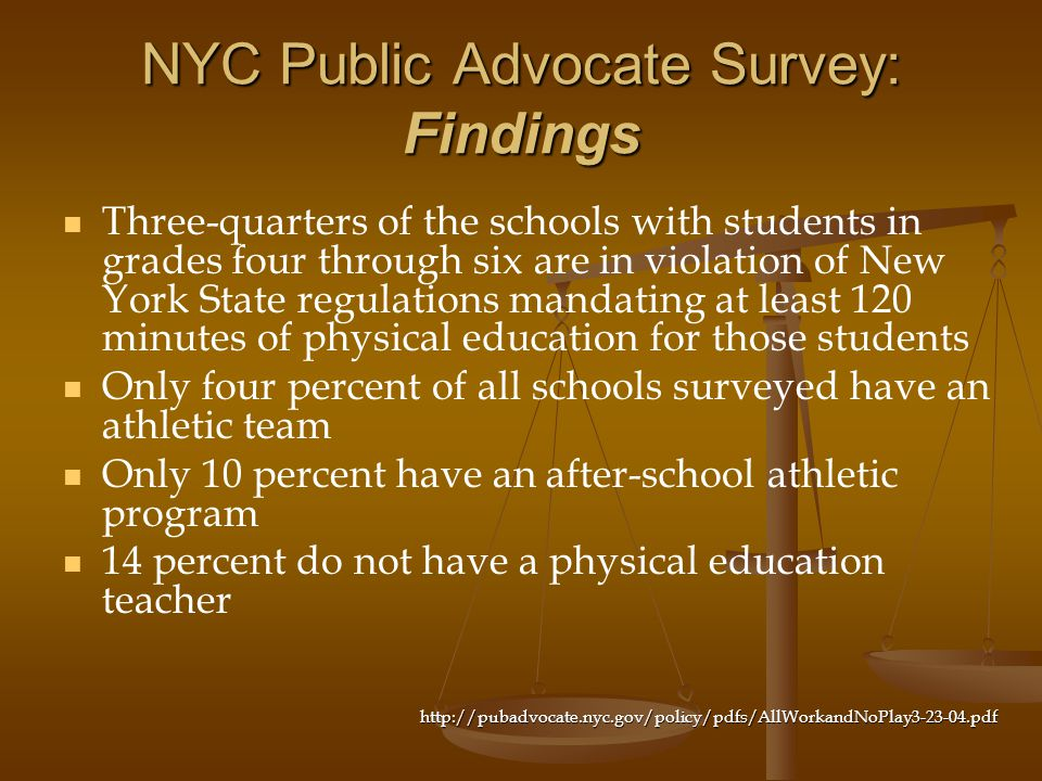 NYC Public Advocate Survey: Findings Three-quarters of the schools with students in grades four through six are in violation of New York State regulat
