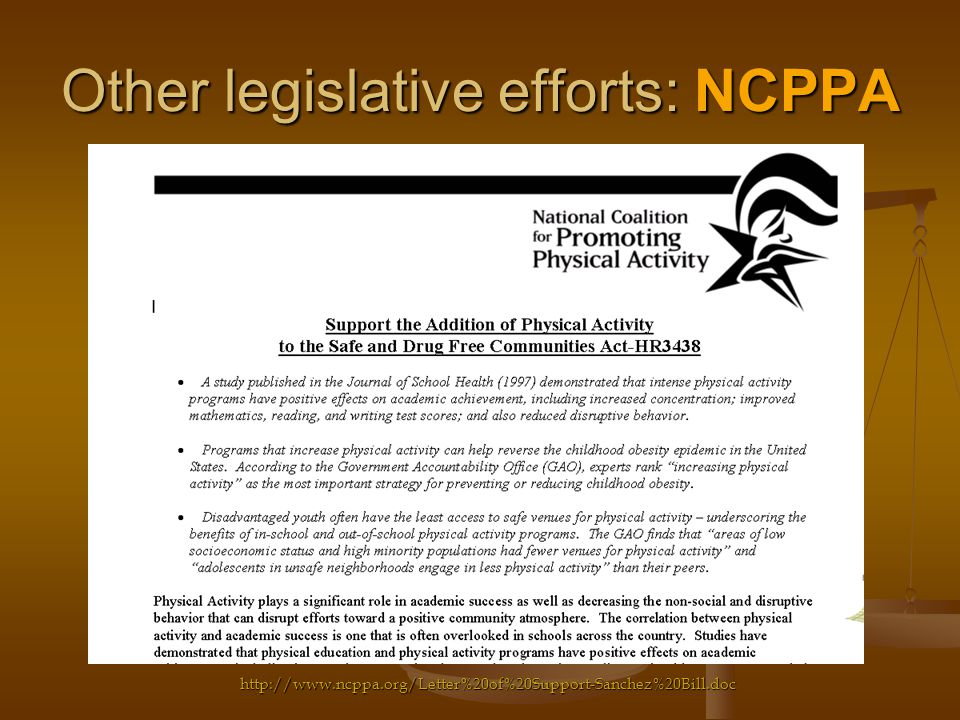Other legislative efforts: NCPPA http://www.ncppa.org/Letter%20of%20Support-Sanchez%20Bill.doc