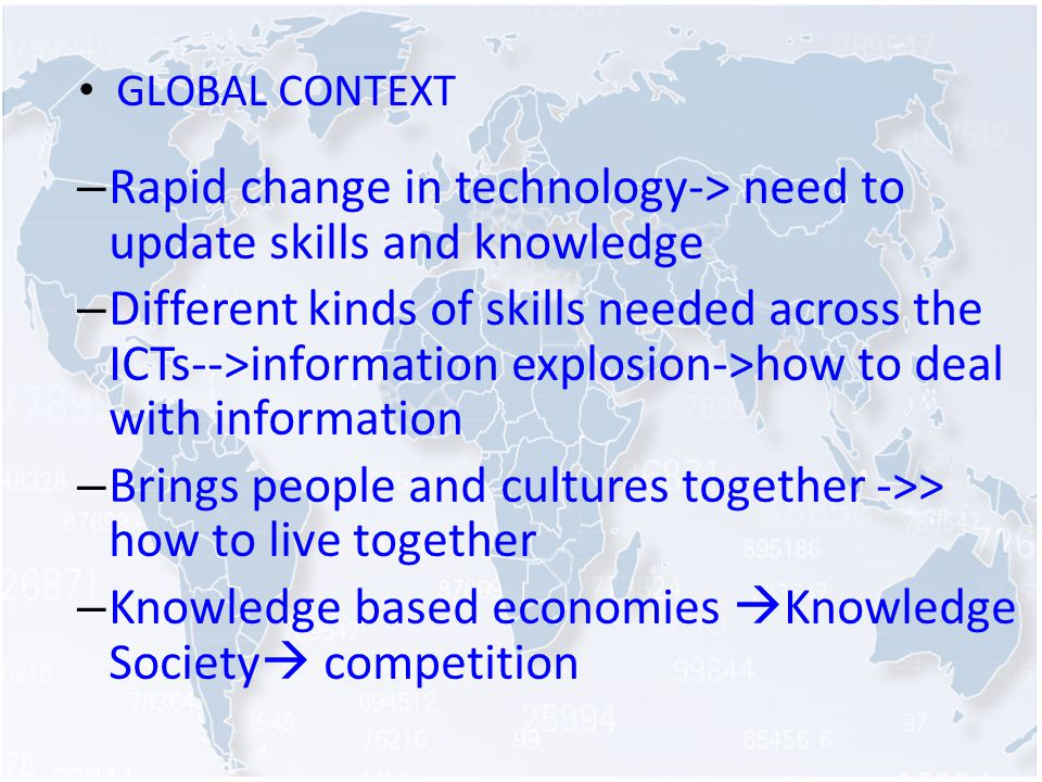 GLOBAL CONTEXT – Rapid change in technology-> need to update skills and knowledge – Different kinds of skills needed across the ICTs-->information explosion->how to deal with information – Brings people and cultures together ->> how to live together – Knowledge based economies Knowledge Society competition