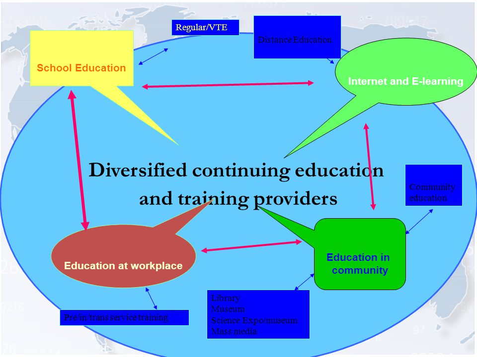 Diversified continuing education and training providers School Education Education at workplace Regular/VTE Distance Education Pre/in/trans service training Library Museum Science Expo/museum Mass media Community education Education in community Internet and E-learning