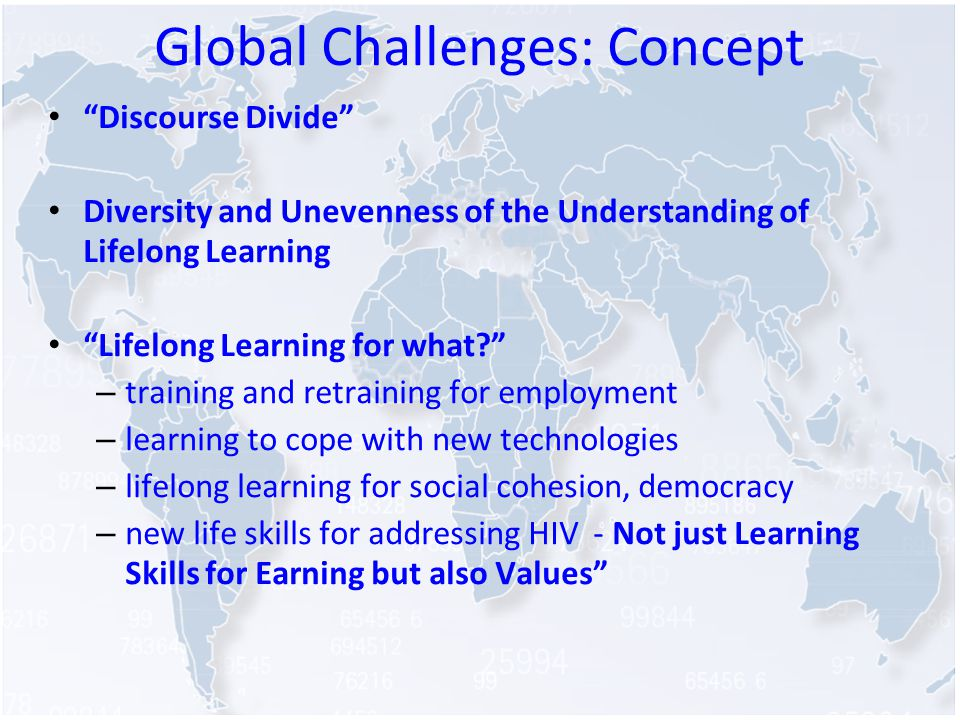 Global Challenges: Concept Discourse Divide Diversity and Unevenness of the Understanding of Lifelong Learning Lifelong Learning for what.