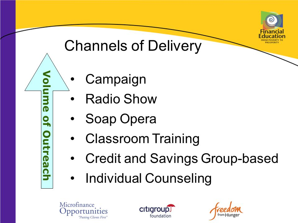Channels of Delivery Campaign Radio Show Soap Opera Classroom Training Credit and Savings Group-based Individual Counseling Volume of Outreach