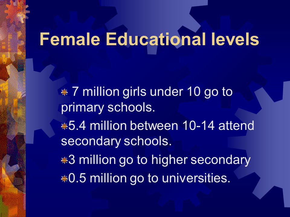 Female Educational levels 7 million girls under 10 go to primary schools. 5.4 million between 10-14 attend secondary schools. 3 million go to higher s