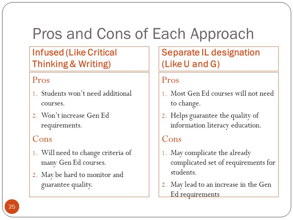 25 Pros and Cons of Each Approach Infused (Like Critical Thinking & Writing) Separate IL designation (Like U and G) Pros 1.