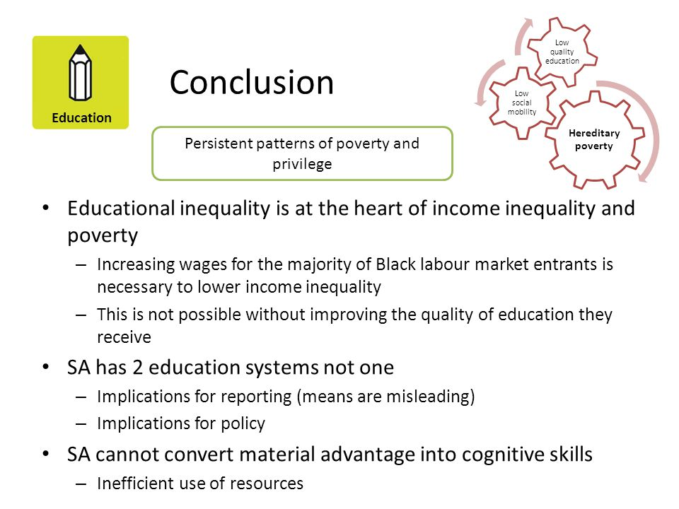 Education Conclusion Educational inequality is at the heart of income inequality and poverty – Increasing wages for the majority of Black labour marke