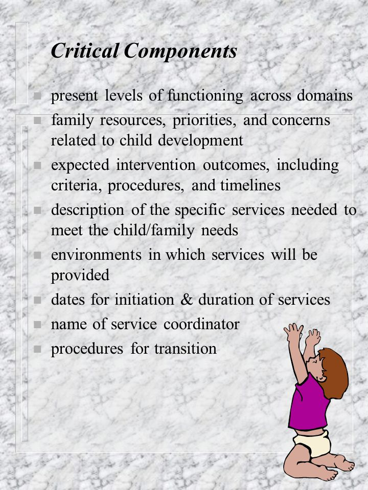 n present levels of functioning across domains n family resources, priorities, and concerns related to child development n expected intervention outco
