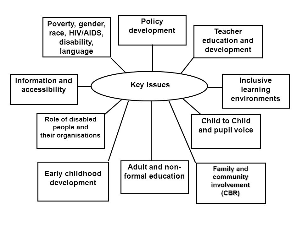 Key Issues Poverty, gender, race, HIV/AIDS, disability, language Policy development Teacher education and development Role of disabled people and their organisations Child to Child and pupil voice Inclusive learning environments Information and accessibility Early childhood development Family and community involvement (CBR) Adult and non- formal education