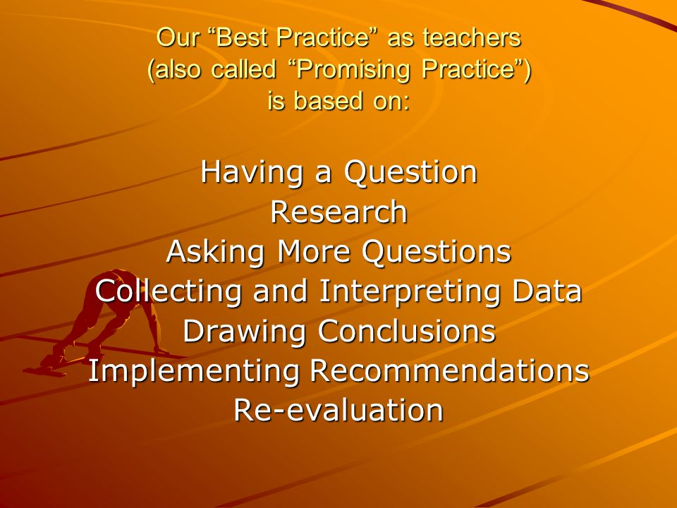 Our Best Practice as teachers (also called Promising Practice) is based on: Having a Question Research Asking More Questions Collecting and Interpreti