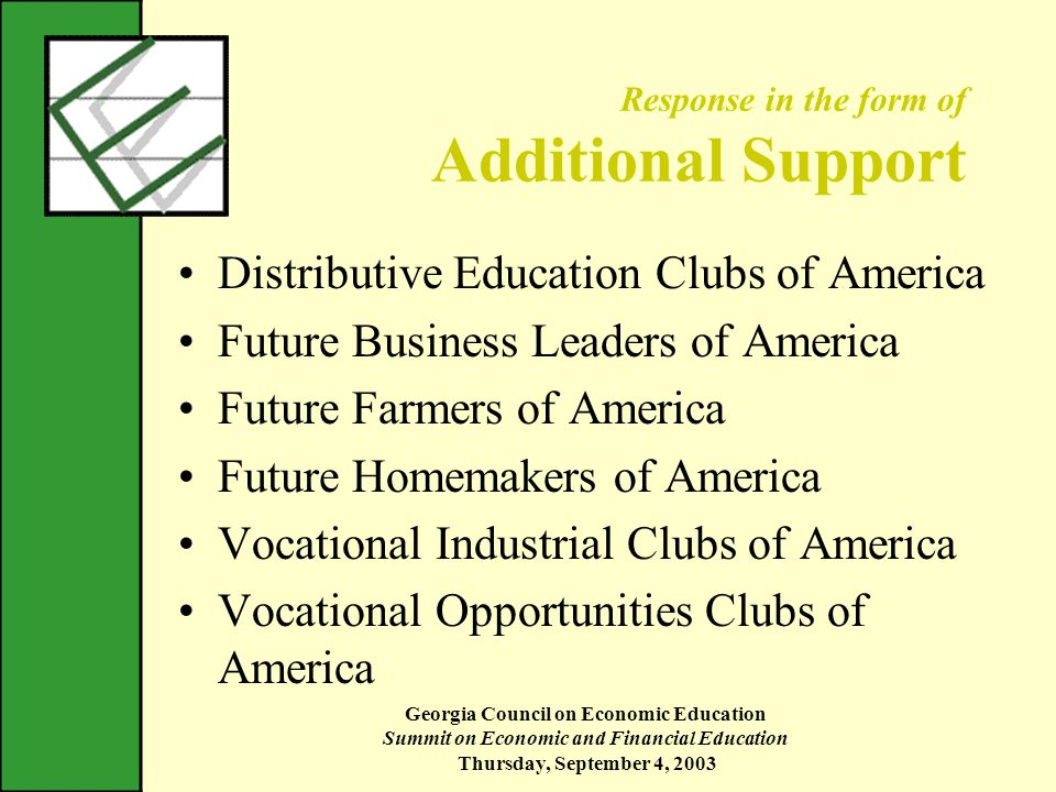 Georgia Council on Economic Education Summit on Economic and Financial Education Thursday, September 4, 2003 Response in the form of Additional Support Distributive Education Clubs of America Future Business Leaders of America Future Farmers of America Future Homemakers of America Vocational Industrial Clubs of America Vocational Opportunities Clubs of America