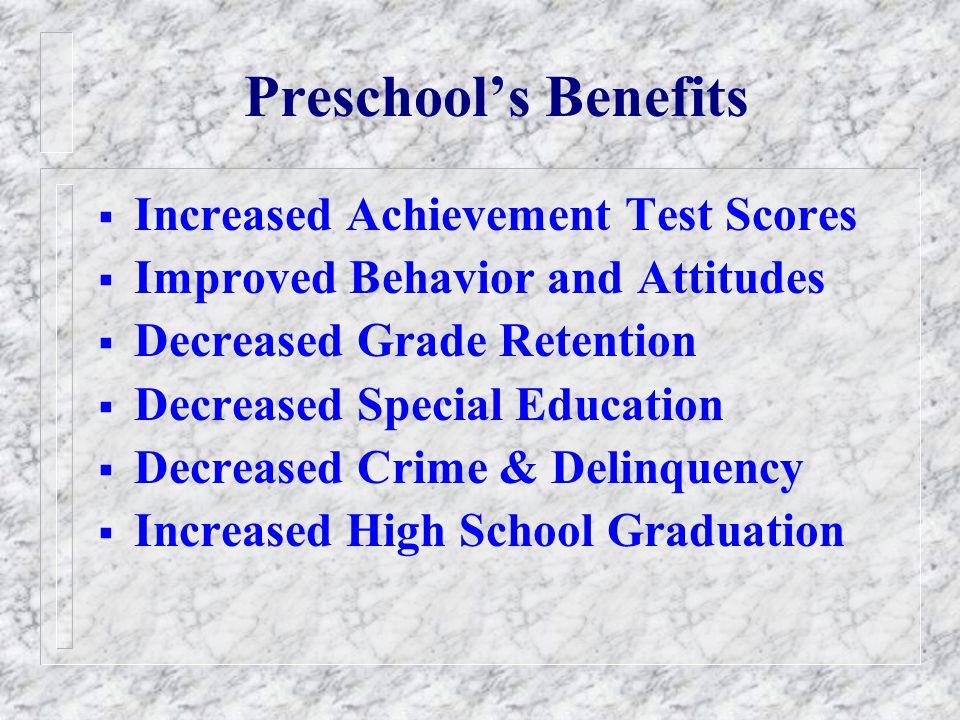 Preschool Classroom Quality is Too Low Good Minimal Excellent