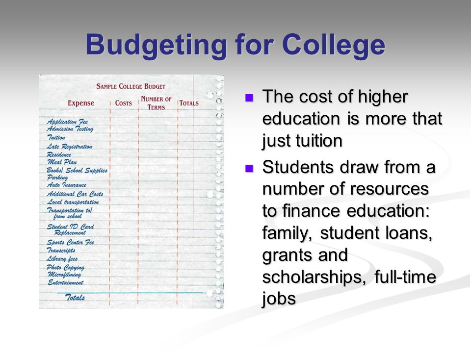 Budgeting for College The cost of higher education is more that just tuition Students draw from a number of resources to finance education: family, student loans, grants and scholarships, full-time jobs