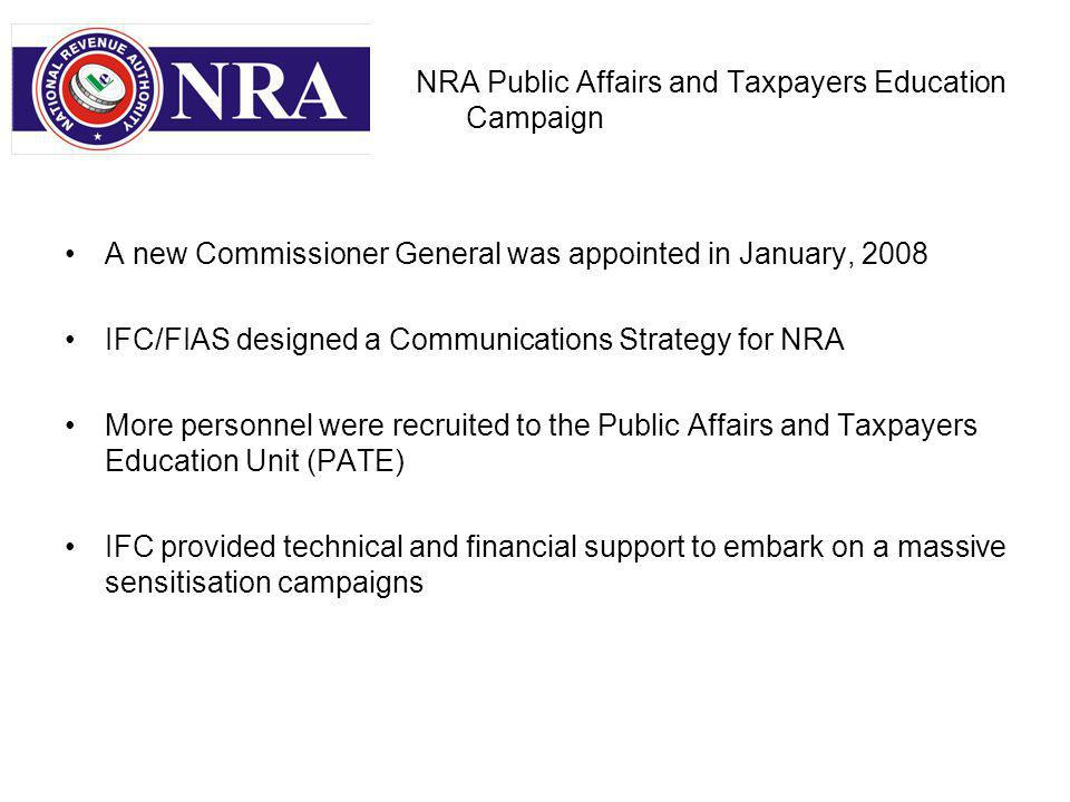 NRA Public Affairs and Taxpayers Education Campaign A new Commissioner General was appointed in January, 2008 IFC/FIAS designed a Communications Strategy for NRA More personnel were recruited to the Public Affairs and Taxpayers Education Unit (PATE) IFC provided technical and financial support to embark on a massive sensitisation campaigns