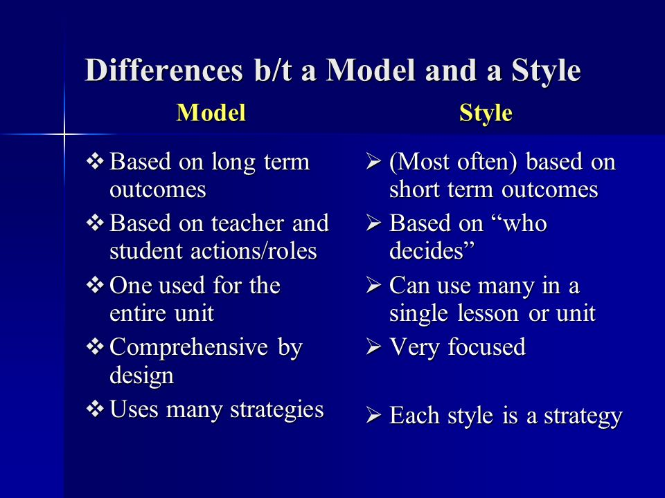 Differences b/t a Model and a Style Model Style Based on long term outcomes Based on long term outcomes Based on teacher and student actions/roles Bas