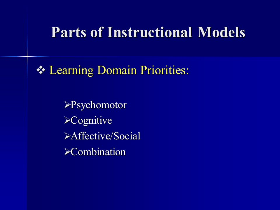 Parts of Instructional Models Learning Domain Priorities: Learning Domain Priorities: Psychomotor Psychomotor Cognitive Cognitive Affective/Social Aff