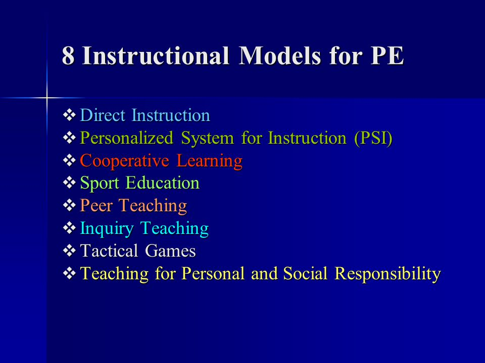 8 Instructional Models for PE Direct Instruction Direct Instruction Personalized System for Instruction (PSI) Personalized System for Instruction (PSI