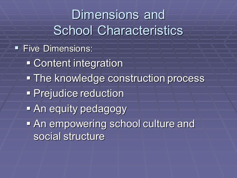 Dimensions and School Characteristics Five Dimensions: Five Dimensions: Content integration Content integration The knowledge construction process The