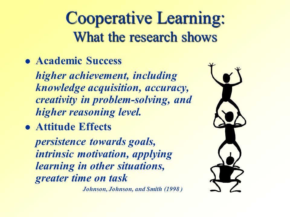Cooperative Learning: What the research shows Academic Success higher achievement, including knowledge acquisition, accuracy, creativity in problem-so