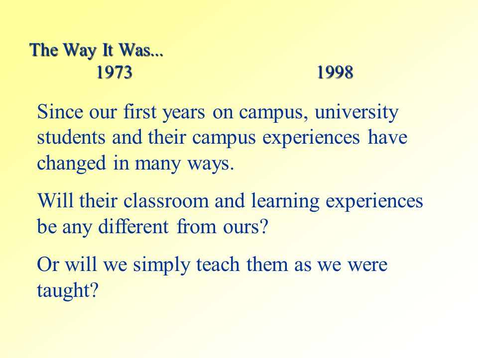 The Way It Was... 19731998 Since our first years on campus, university students and their campus experiences have changed in many ways. Will their cla