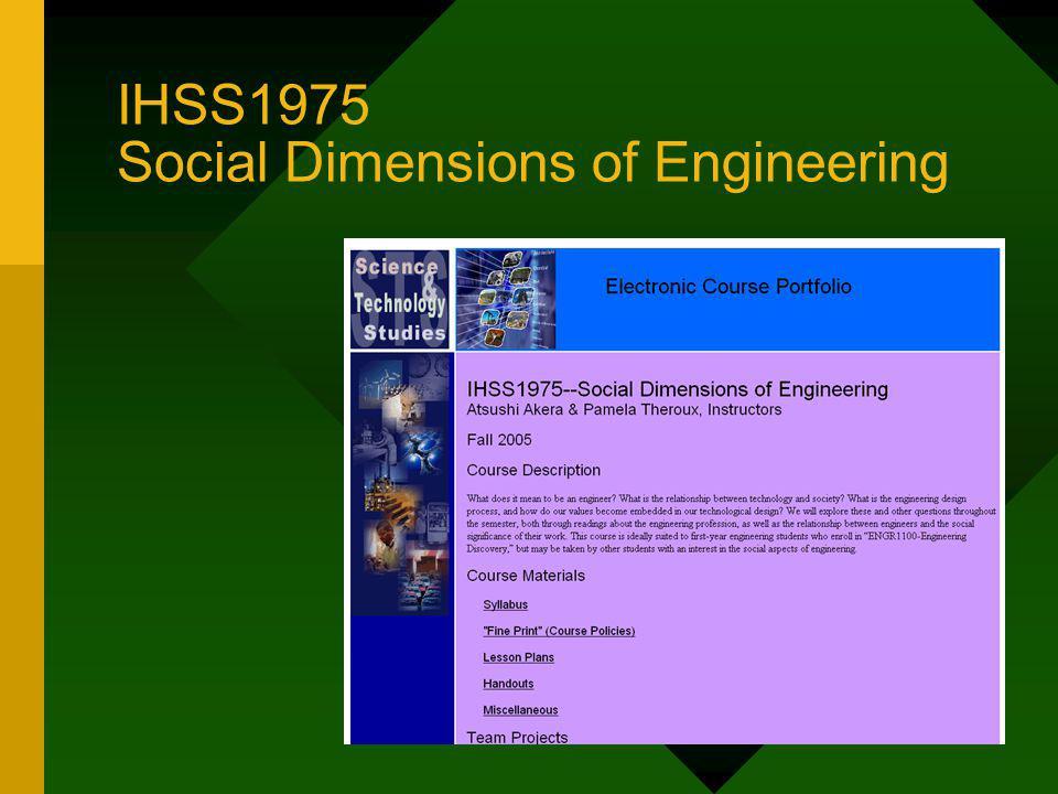 Origins of Social Dimensions of Engineering CORE Engineering Renaissance Integrative Studies Pilot Program