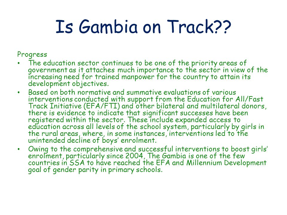 Is Gambia on Track?.