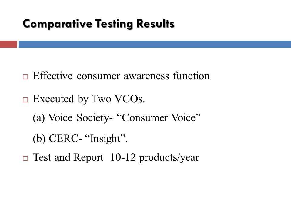 Comparative Testing Results Effective consumer awareness function Executed by Two VCOs.
