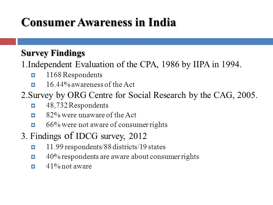 Consumer Awareness in India Survey Findings 1.Independent Evaluation of the CPA, 1986 by IIPA in 1994.