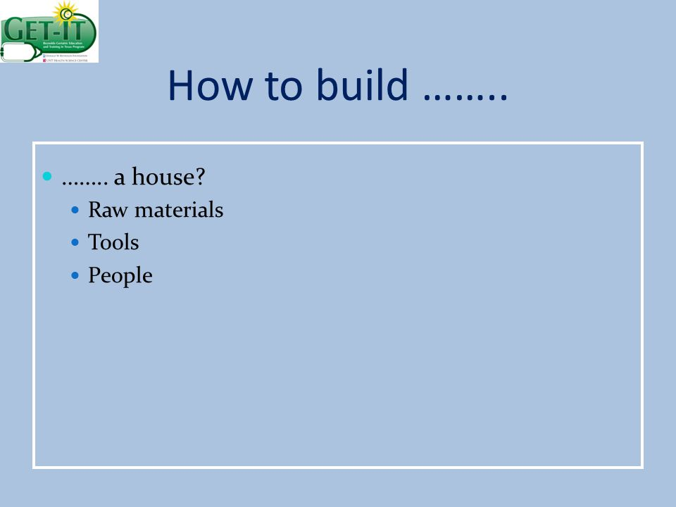 How to build …….. …….. a house Raw materials Tools People